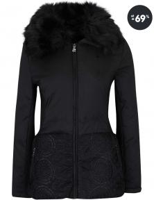 Dámska čierna dlhšia bunda s umelým kožúškom