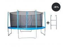 Trampolína Rulyt 366cm x 89 basic + sieť, schodíky modrá  (zľava 31%)