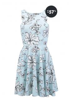 Výpredaj letné šaty mentolové s bielymi kvetmi Closet