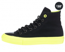 Čierne členkové topanky so zelenou podrážkou Converse
