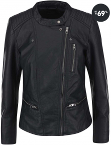 Dámska čierna koženková bunda Freya