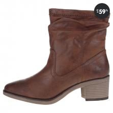Dámske hnedé členkové koženkové topánky na podpätku vo výpredaji