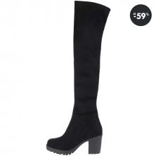 Dámske topánky - Čierne čižmy v semišovej úprave