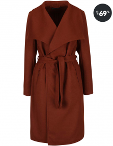 Dámsky hnedý kabát ONLY v akcii