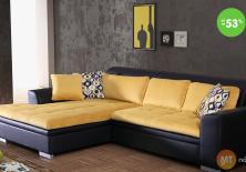 Lacná sedačka rohová (farba žltá / čierna)