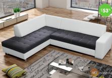 Výpredaj - sedačka umývateľná rohová (biela / čierna)