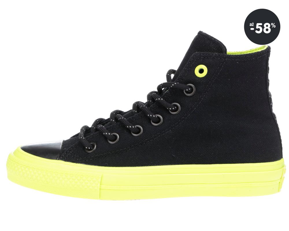 ... Chuck Taylor Čierne členkové topanky so zelenou podrážkou Converse  Akcia - unisex tenisky biele Converse 5b85fde45a