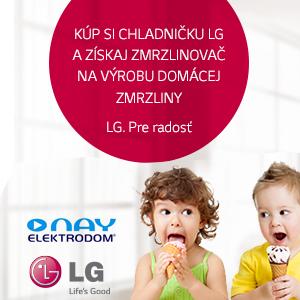 Zmrzlinovač v hodnote 40 € k vybraným chladničkám LG v eshope NAY.sk